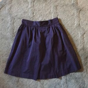 Navy blue, pleated satin skirt - size 6